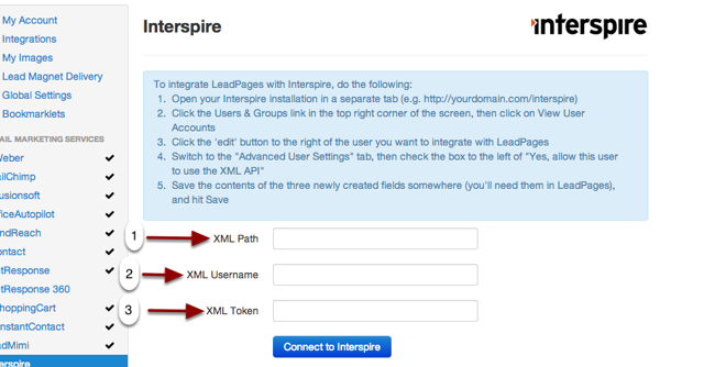 2e.  Enter the info from the previous step in the corresponding fields and click 'Connect to Interspire'