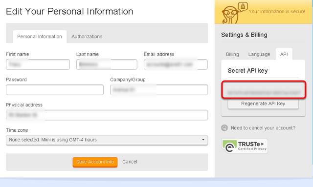 Copy the Secret API key