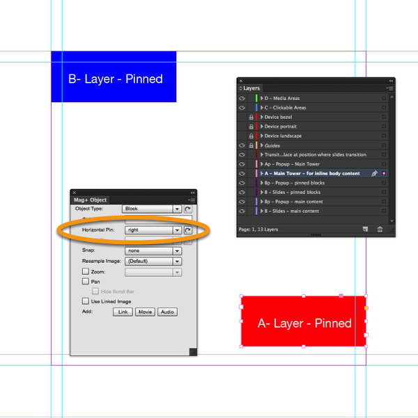 "With the frame selected, go to Mag+ > Mag+ Object Panel and set the Horizontal Pin to ""Right""."