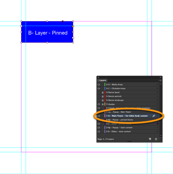 "Now select the layer ""A - Main Tower"" in InDesign."