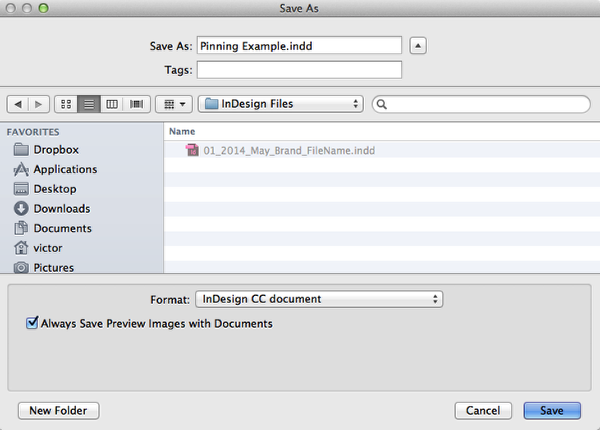 """Save the untitled document as """"Pinning Example""""."""