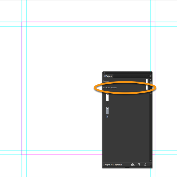 "Add a new page to your InDesign document using the master page ""A-Auto Master""."