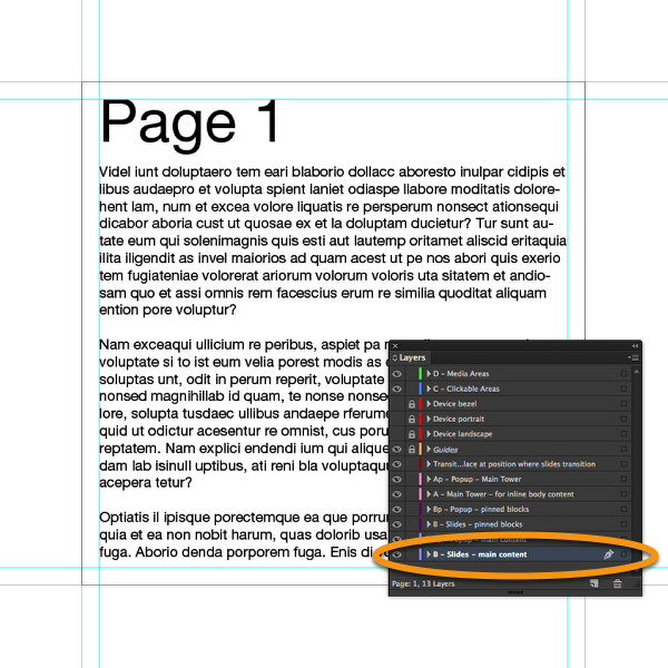 "Place a text frame with some content on the layer ""B-Slides-Main Content"" in InDesign."