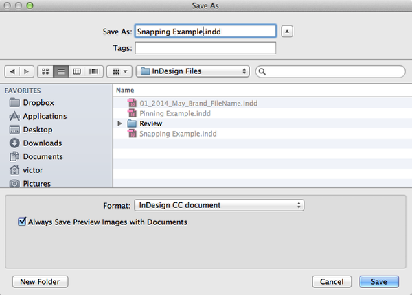 "Save the untitled document as ""Snapping Example""."