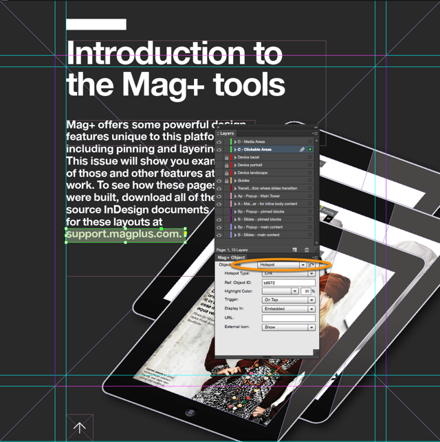 "In the Mag+ Object Panel, make sure the Object Type of the new frame is set to ""Hotspot."""