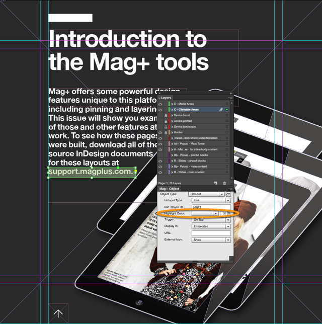 (Optional) In the Mag+ Object Panel, set a Highlight Color and transparency.