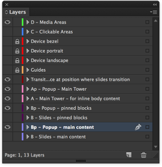 "Click on the InDesign layer ""Bp - Popup - main content"" to make it active."