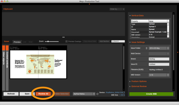 "Review the Issue by clicking on the ""Review All"" button in the Mag+ Production Tool."