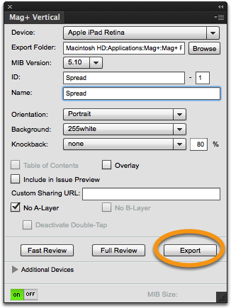 "Save your document and in the Mag+ Vertical Panel click on ""Export""."