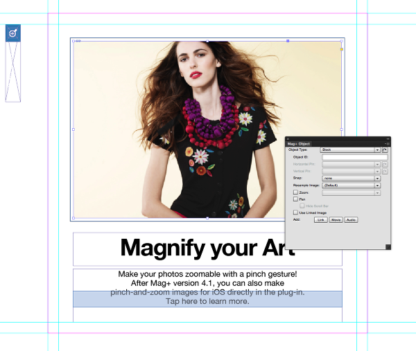 Select a frame in InDesign that you would like to enable for Pinch and Zoom.