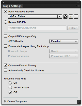 In InDesign, show the Mag+ Settings panel (Mag+ -> Mag+ Settings Panel).