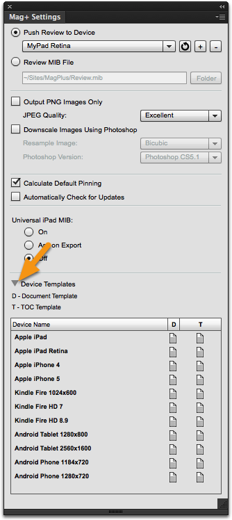 At the bottom of the Mag+ Settings panel, click the triangle next to Device Templates.