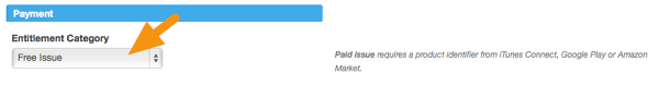 """Make sure your Preview Issue is set to """"Free Issue"""" under the Issue Settings > Payment section."""