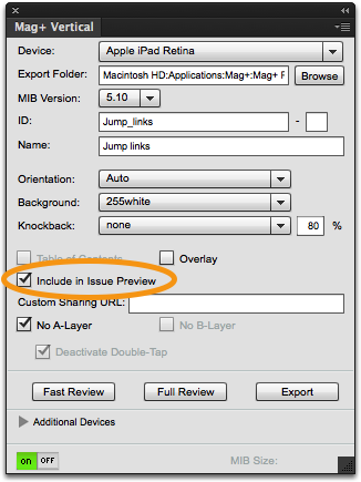"""Click on the checkbox """"Include in Issue Preview."""""""
