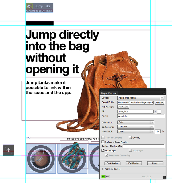 In InDesign, open your layout and show the Mag+ Vertical panel.