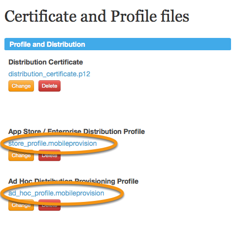 Download both the App Store and Ad Hoc Provisioning Profiles by clicking on their names.