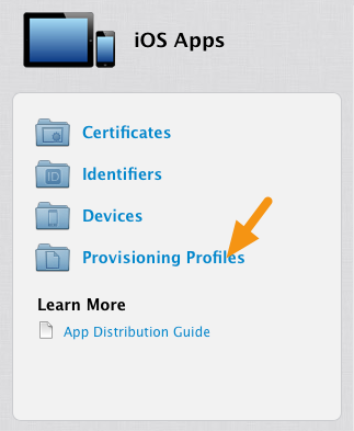 "Click on ""Provisioning Profiles."""