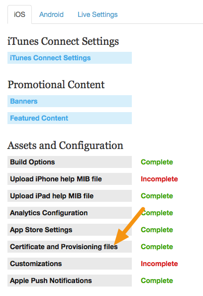 Go to Apps > iOS > Certificate and Provisioning files.