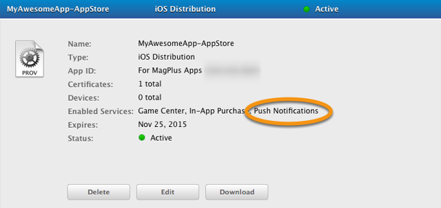 A details view will appear that allows you to see if Push Notifications is active.