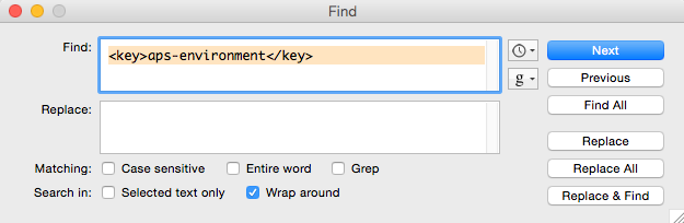 "After downloading, open the files in a text editor and search for the string ""<key>aps-environment</key>."""