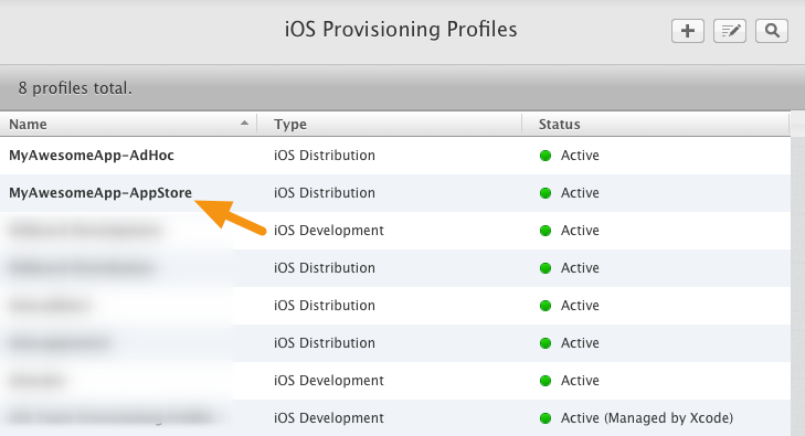 Click on the App Store Provisioning Profile you uploaded to the Mag+ Publish portal.