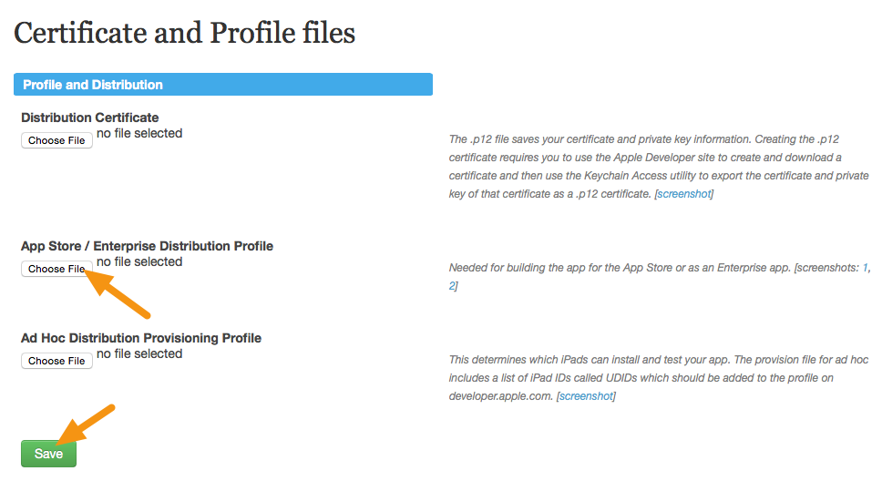 Ios creating an app store distribution provisioning profile click on choose file under the app store heading select the profile you created earlier and click on save ccuart Images