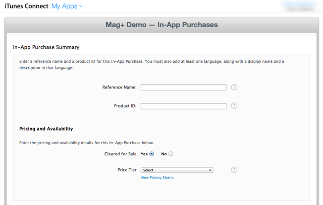 Configure the options for your In-App Purchase.