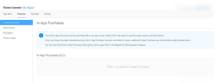 "Click on the ""Features"" tab to see a list of all In-App purchases associated with your app (or create your first one)"