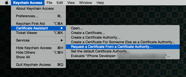 Go to Keychain Access > Certificate Assistant > Request a Certificate from a Certificate Authority.