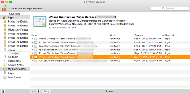 Double-click the .cer file to install it in Keychain Access.