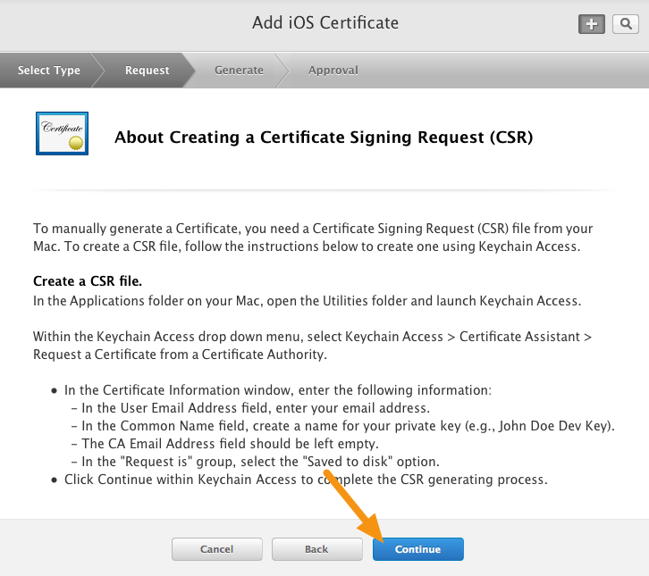 Ios creating a distribution certificate and p12 file mag click on quotcontinuequot yadclub Image collections