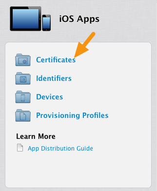 "Click on the ""Certificates"" link under ""iOS Apps."""