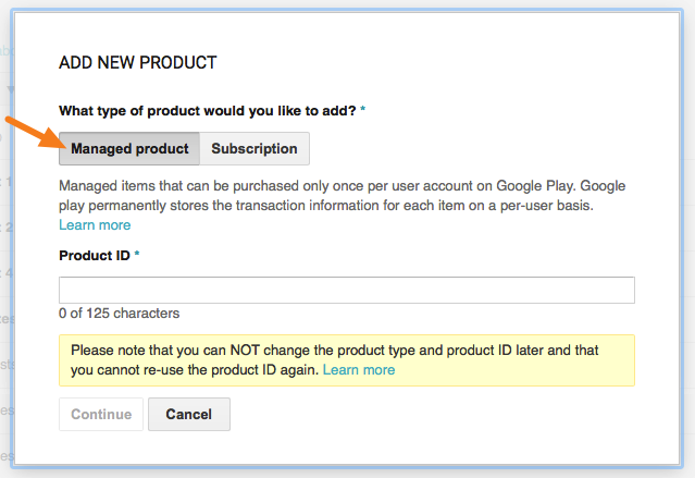 "Select ""Managed product"" and assign a Product ID"