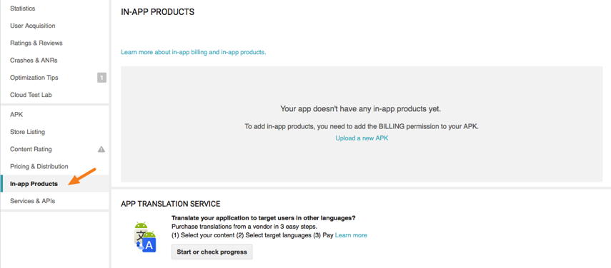 "Click on ""In-app Products"""