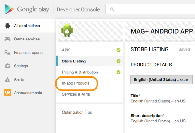 """In the area on the left, click on the link """"In-app Products."""""""