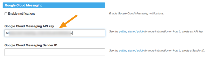 "Under ""Google Cloud Messaging,"" paste the API Key in the appropriate field."