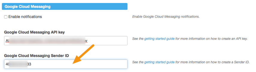 "Paste the Sender ID into the ""Google Cloud Messaging Sender ID"" field."