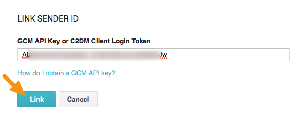 "In the window that displays, paste the ""API Key"" into the ""FCM API Key"" field and click the ""Link"" button."