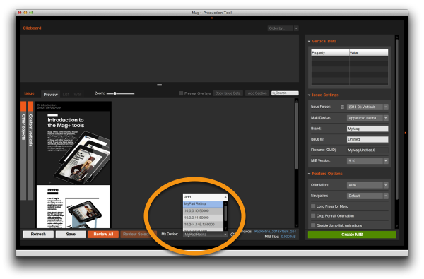Configuring the Mag+ Production Tool