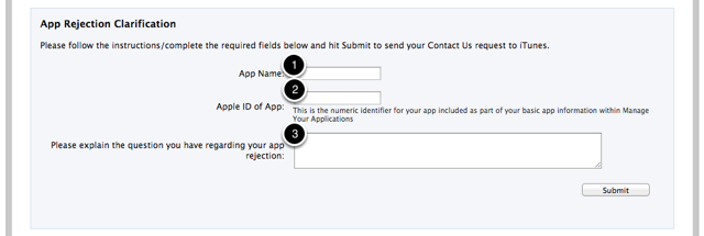 "3. Enter your ""App Name"" and ""Apple ID"".  Then enter the text below in the explanation field and click ""Submit""."