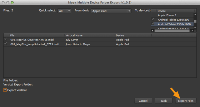 "Click on the ""Export Files"" button to begin the conversion."