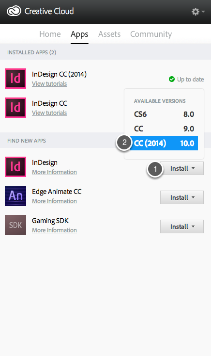 """Click on the """"Install"""" button (Label 1) and select the previous version from the menu (Label 2)."""