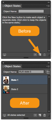 "Select the image box and the grouped object and then click the ""Convert to multi-state object"" button at the bottom of the Object States panel."