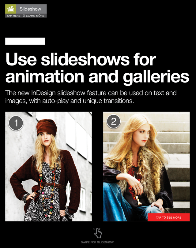 In InDesign, create each slide in your slideshow.
