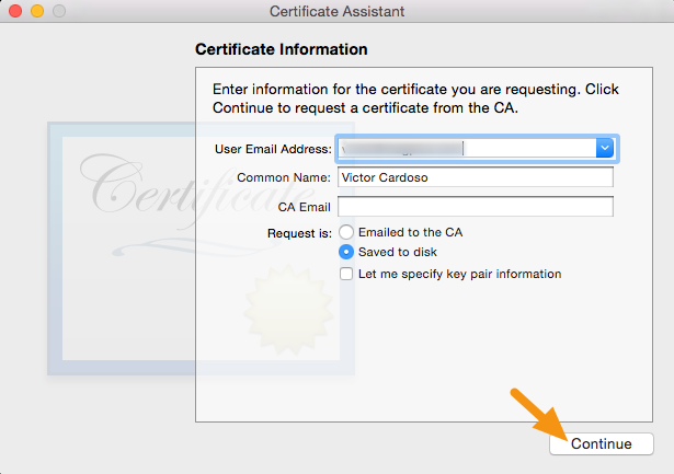 "Fill out the information in the Certificate Information window as specified below and click ""Continue."""