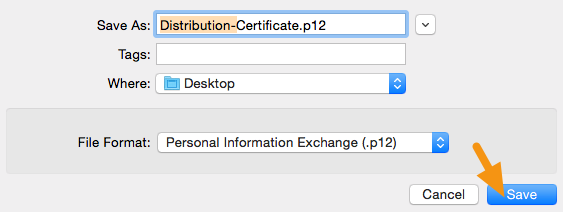 "In the window that appears, add ""Distribution-"" to the filename, make sure the File Format is set to ""Personal Information Exchange (.p12)"" and click on ""Save"" to save it to your machine."