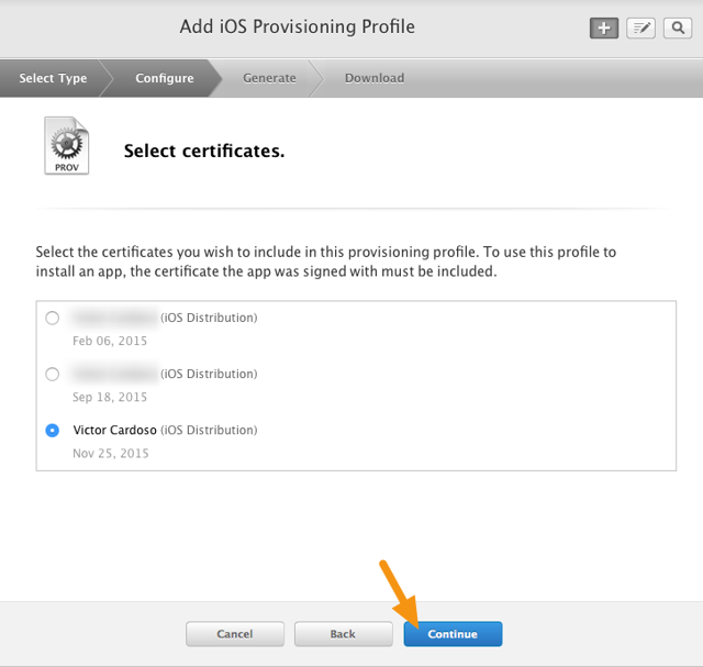 "Click on the radio button next to your new Distribution Certificate and click on ""Continue."""