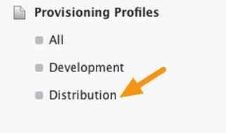 "Click on ""Distribution"" under the ""Provisioning Profiles section."