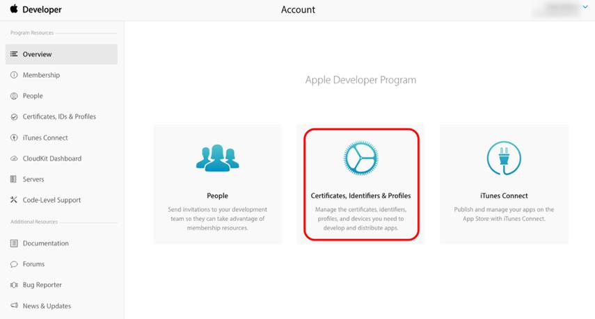 "Click ""Certificates, Identifiers & Profiles."""