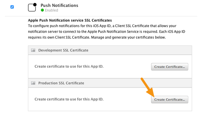 "Under Production SSL Certificate, click on the ""Create Certificate"" button."